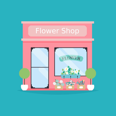shop show window: Flower shop facade. Vector illustration of flower shop building. Ideal for flower shop business web publications and graphic design. Illustration