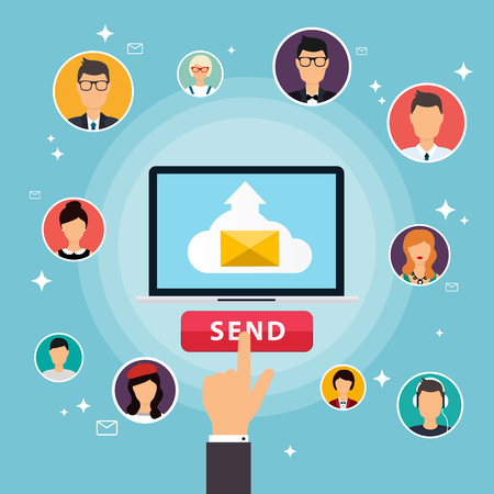 mail marketing: Running campaign, email advertising, direct digital marketing. Email marketing. Set of people avatars and icons. Flat design style modern vector illustration concept.