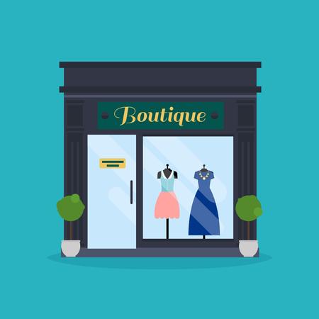 shoe store: fachada de tienda de modas. Tienda de ropa. Ideal para publicaciones web de negocios de mercado y diseño gráfico.