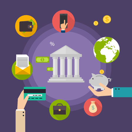 banco dinero: Concepto de banca. Conjunto de icono de la banca plana, las operaciones de financiaci�n, el pago, tarjetas de cr�dito, cartera y dinero en efectivo. ilustraci�n vectorial de estilo plano. Vectores