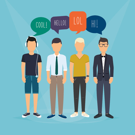 relating: Four guys communicate. Speech Bubbles with Social Media Words. Vector illustration of a communication concept, relating to feedback, reviews and discussion. Illustration