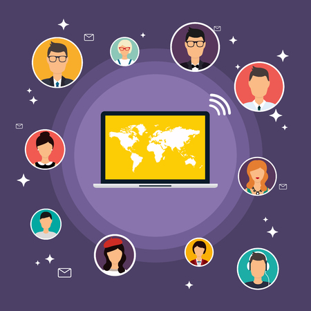 communicatio: Social Network Vector Concept. Flat Design Illustration for Web Sites Infographic Design with laptop avatars. Set of people avatars and icons. Communication Systems and Technologies. Illustration