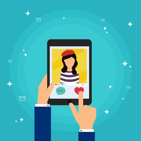 dedo: dedo de la mano humana presionando como bot�n (amor) en una tableta con aplicaci�n de medios sociales. Red social del concepto de vector. Sistemas de comunicaci�n y tecnolog�as.