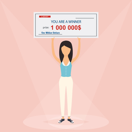 woman holding money: Happy woman holding large check of one million dollar in hands. Colorful Vector Illustration.