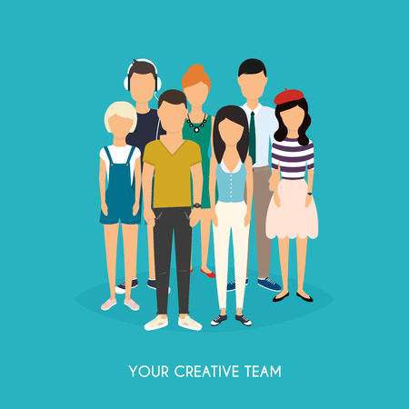 young worker: Your creative team. Business Team. Teamwork. Social Network and Social Media Concept. Business flat vector illustration.