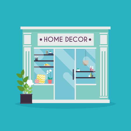 decor graphic: Home decor facade. Decor shop. Ideal for market business web publications and graphic design. Flat style vector illustration. Illustration