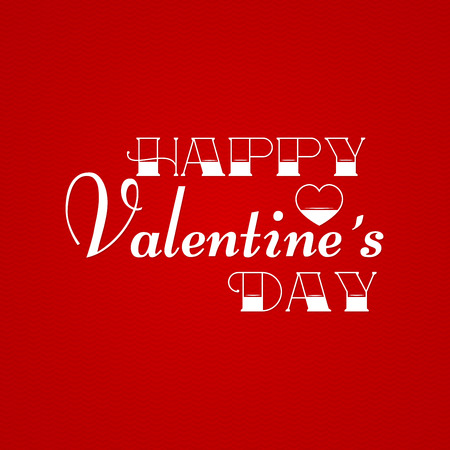 valentines: Happy Valentines Day Greeting Card on red background. Vector illustration.