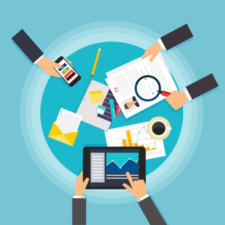 working out: Business teamwork. Creative team desktop top view with tablets, stationery and people working together. Business meeting and brainstorming. Flat design.