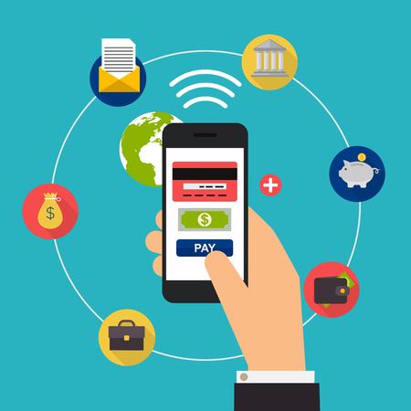 cuenta bancaria: ilustración del vector del diseño conceptos planas de los métodos de pago en línea. banca por Internet, compras en línea y transacciones, transferencias electrónicas de fondos y la transferencia bancaria. Vectores