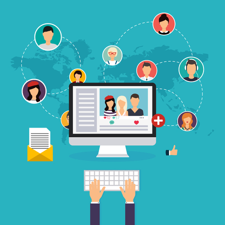 communicatio: Social network and teamwork concept for web and info graphic. Set of people avatars and icons. Hands holding and using computer. Communication Systems and Technologies. Illustration