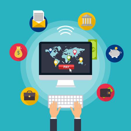Flat vector design concepts d'illustration des méthodes de paiement en ligne. services bancaires par Internet, les achats en ligne et de transaction, les transferts de fonds électroniques et virement bancaire. Vecteurs