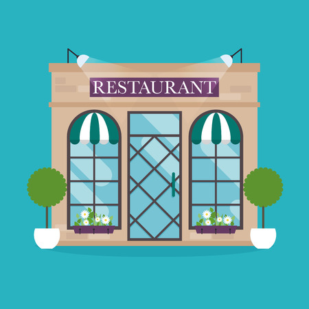publications: Vector illustration of restaurant building. Facade icons. Ideal for restaurant business web publications and graphic design. Flat style vector illustration.