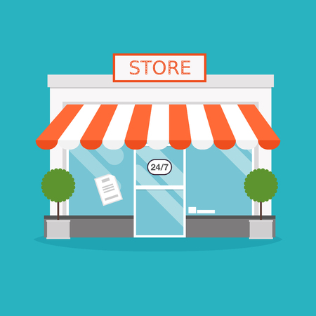 plaza comercial: fachada de la tienda. Ilustración del vector del edificio de la tienda. Ideal para publicaciones web de negocios y diseño gráfico. ilustración vectorial de estilo plano.