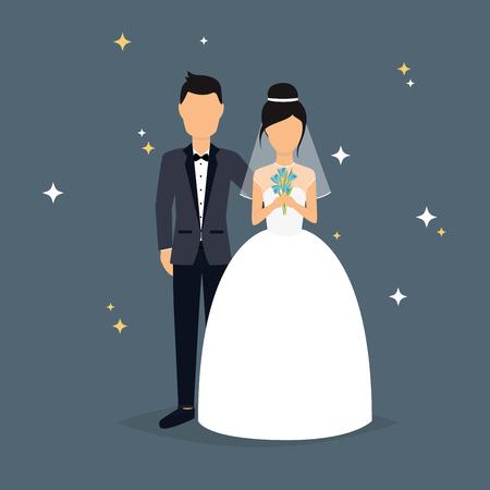 esküvő: Menyasszony és a vőlegény. Esküvői tervezés felett szürke háttér. Vektoros illusztráció.