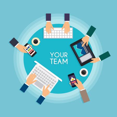 usando computadora: red social y el concepto de trabajo en equipo para la web y la información gráfica. Tomados de la mano y que usan el ordenador, tableta, ordenador portátil, teléfono inteligente. Sistemas de comunicación y tecnologías. Vectores