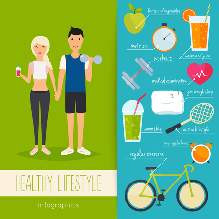 metrics: Concept of healthy lifestyle infographics. Young man and woman lead a healthy lifestyle. Icons for web: fitness, healthy food and metrics. Flat design vector illustration.