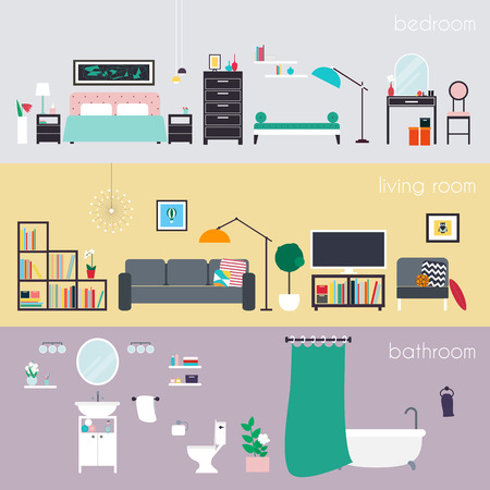 accessory: Set of colorful vector interior design house rooms with furniture icons: living room, bedroom and bathroom. Furniture and Home Accessories. Flat style vector illustration.