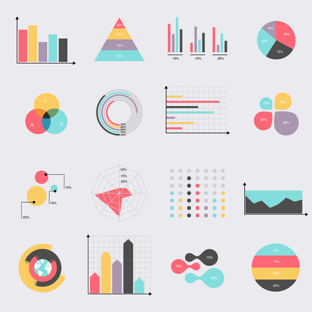 Business data market elements dot bar pie charts diagrams and graphs flat icons set. Can be used for info graphics, graphic or website layout vector, numbered banners, diagram. Vector illustration.