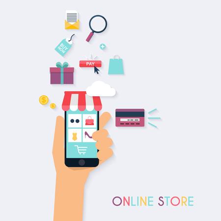 개념 온라인 쇼핑 및 전자 - 상거래입니다. 모바일 마케팅을위한 아이콘. 손 들고 스마트 폰입니다. 플랫 디자인 스타일 현대 벡터 일러스트 레이 션 개