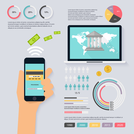 banco mundial: Accounting infographics set with finance, money, bank, charts and world map. Flat design concept payment. Can Be Used For Work flow Layout, Banner, Diagram, Web Design. Vector illustration.
