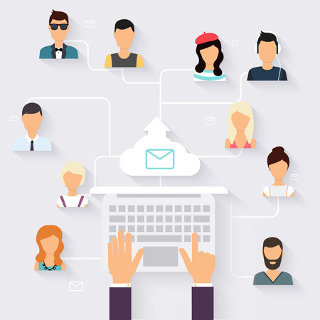sales promotion: Running campaign, email advertising, direct digital marketing. Email marketing. Set of people avatars and icons. Flat design style modern vector illustration concept.