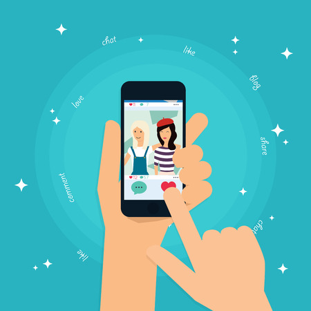 woman cell phone: Social app concept on touchscreen. Human hand finger pressing like (love) button on a tablet with social media app. Social Network Vector Concept. Communication Systems and Technologies.