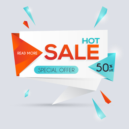 hot deal: Sale paper banner. Sale and discounts. Super Sale and special offer. Sale shopping background and label for business promotion. Vector illustration.