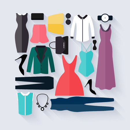 shopping icons: Clothing icons set, shopping elements. Flat design vector.