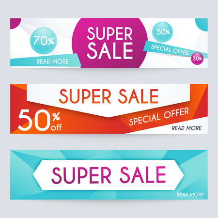 Set of sale banners design. Sale paper banner. Sale and discounts. Super Sale and special offer. Sale shopping background and label for business promotion. Vector illustration.