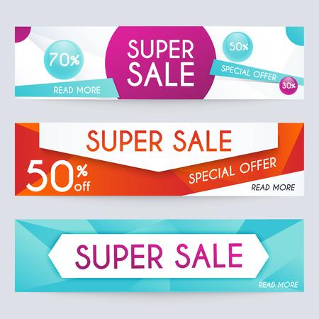 Zestaw transparenty sprzedaży projektu. Sprzedaż Wstęga. Sprzedaż i rabaty. Super Sprzedaż i oferta specjalna. Sprzedaż tła zakupów i etykiety dla promocji gospodarczej. ilustracji wektorowych.