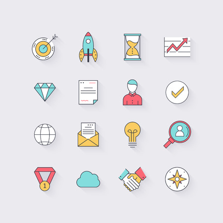 seach: Line icons set in flat design. Elements of business, startup, time management, team work and globalization. Modern infographic linear vector illustration.