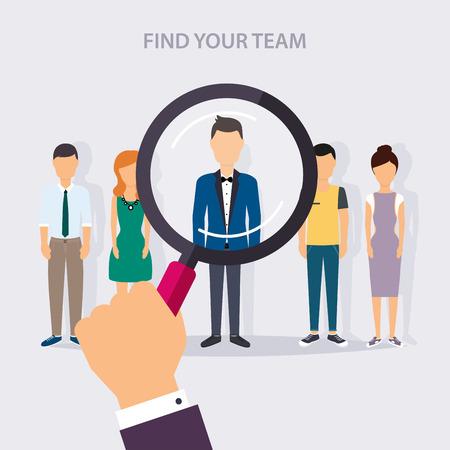Zoeken naar een baan en carrière. human resources management en het hoofd jager zoeken. Social Network en Social Media Concept. Zakelijke plat vector illustratie.