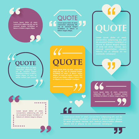 Quote blank template. Design elements, circle business card template, paper sheet, information, text. Quote template for your design.