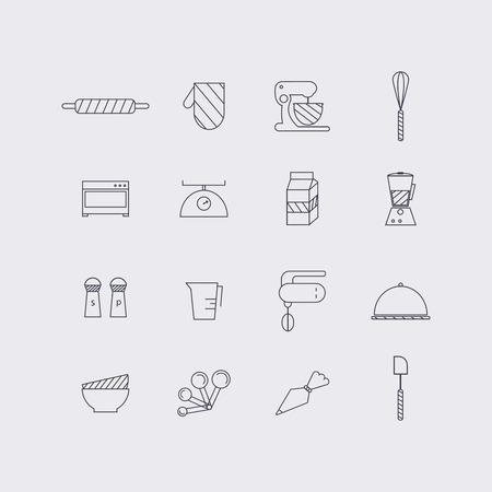フラットなデザインでライン アイコンを設定します。調理食品やキッチンの概要とベーキングの要素。モダンなインフォ グラフィックの線形ベクト