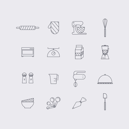 Line icons set in flat design. Elements of Cooking Foods and Kitchen outline and baking. Modern infographic linear vector illustration. Çizim