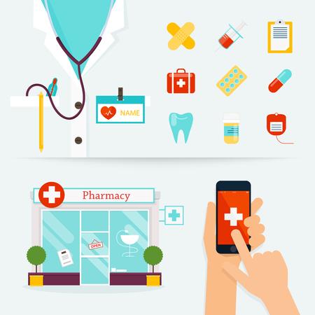 , La atención médica y el concepto de emergencia. primeros auxilios, medicamentos, farmacia. Diseño plano ilustración vectorial moderno de iconos médicos.