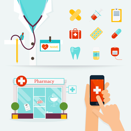 Medical, Health care and emergency concept. First aid, medicines, pharmacy. Flat design modern vector illustration of medical icons.