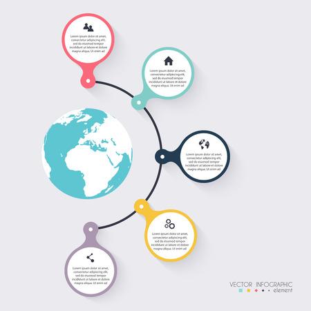 Vector colorido infografías para sus presentaciones. Puede ser utilizado para información de gráficos, gráfico o sitio web de diseño vectorial, carteles numerados, diagrama, líneas de corte horizontal, diseño de páginas web. Ilustración de vector