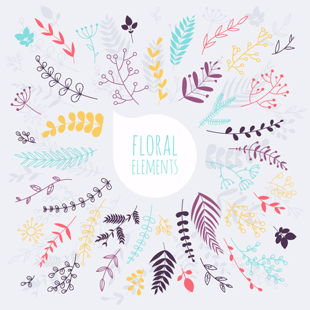 coronas de navidad: elementos florales. Dibujado a mano elementos de diseño. Colección de flores de primavera, hojas, diente de león, hierba. Diseño para la invitación, boda o tarjetas de felicitación.