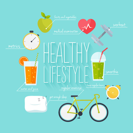 metrics: Concept of healthy lifestyle infographics. Icons for web: fitness, healthy food and metrics. Flat design vector illustration.
