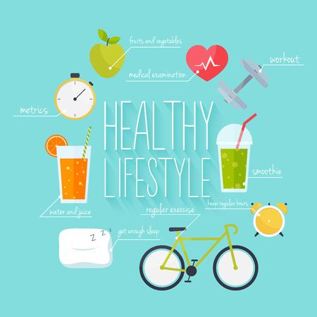 Concept van gezonde levensstijl infographics. Pictogrammen voor web: fitness, gezond eten en statistieken. Vlakke ontwerp vectorillustratie.