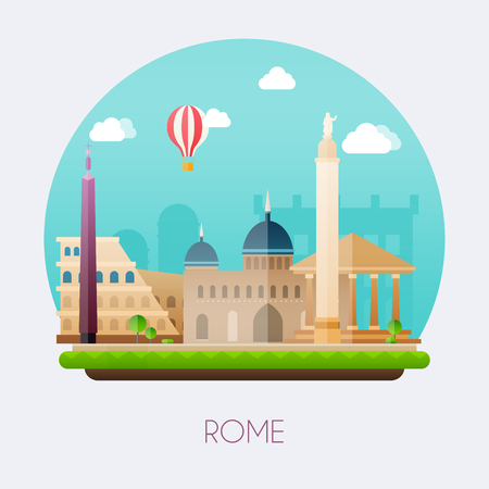 Rome. Skyline and vector landscape of buildings and  famous landmarks. Vector illustration. Stock Illustratie