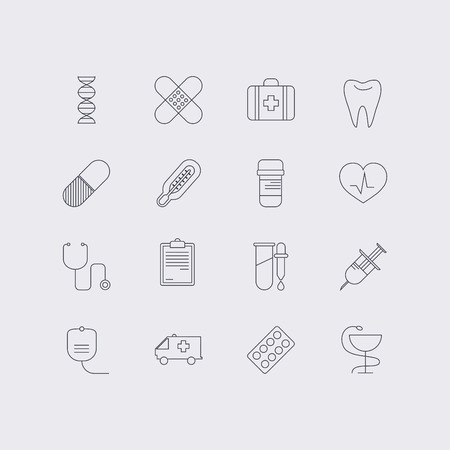Line icons set in flat design. Elements of medicine, health, hospital, immune system analysis, genetics, diagnostic equipment, medical tools. Modern infographic linear vector illustration.