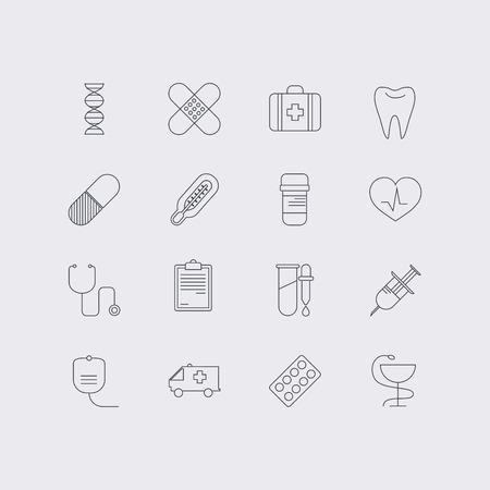 immune system: Line icons set in flat design. Elements of medicine, health, hospital, immune system analysis, genetics, diagnostic equipment, medical tools. Modern infographic linear vector illustration.