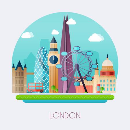 Londen. Horizon en vector landschap van gebouwen de hoofdstad van Groot-Brittannië. Big Ben, brug, dubbeldekker en telefoon. Stockfoto - 53411474