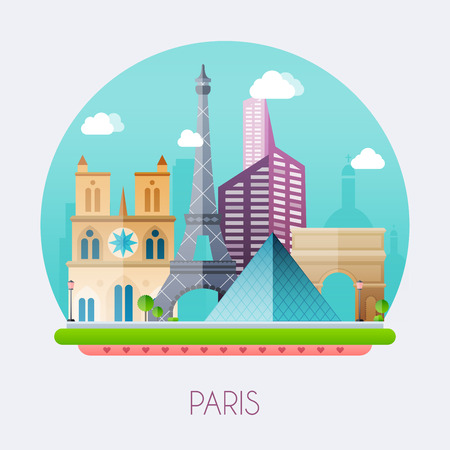 paris skyline: Paris.  Skyline and vector landscape of buildings and  famous landmarks. Vector illustration.Paris.  Skyline and vector landscape of buildings and  famous landmarks. Vector illustration.