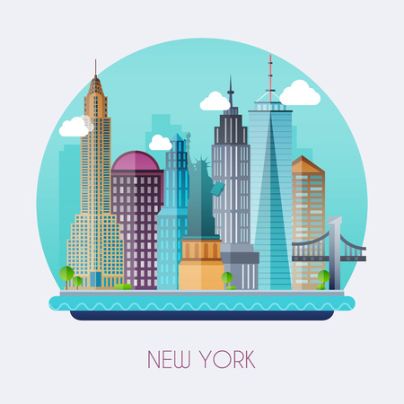 chrysler: New York City. Skyline and vector landscape of buildings and the Statue of Liberty. Vector illustration.