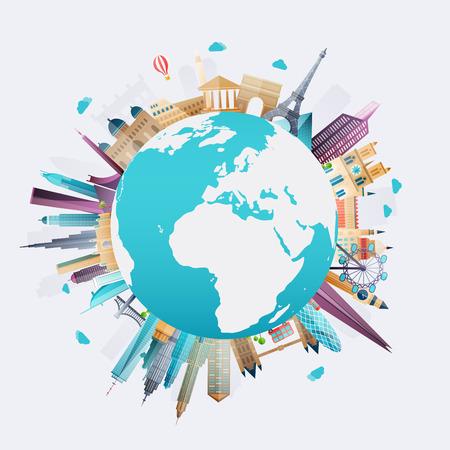 monumento: El planeta tierra viajar por el mundo. Los viajes y los antecedentes del turismo.