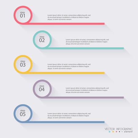 diagrama de procesos: Vector colorido infografías para sus presentaciones. Puede ser utilizado para información de gráficos, gráfico o sitio web de diseño vectorial, carteles numerados, diagrama, líneas de corte horizontal, diseño de páginas web. Vectores