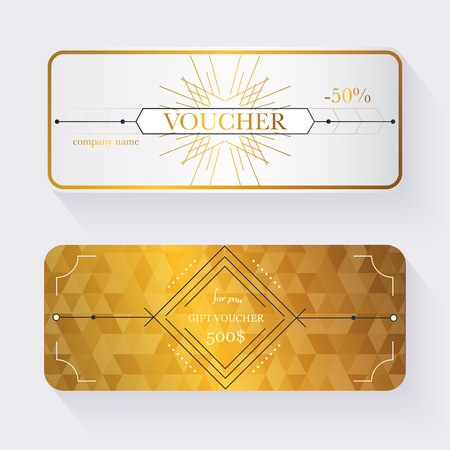 Gift voucher template with gold pattern, Gift certificate. Background design gift coupon, voucher, certificate, invitation, currency. Collection gift certificate. Vector illustration.